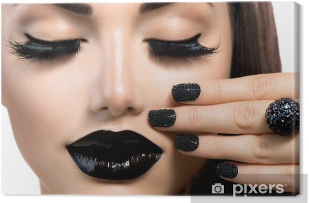 Beauty Fashion Girl with Trendy Caviar Black Manicure and Makeup Canvas Print - Themes