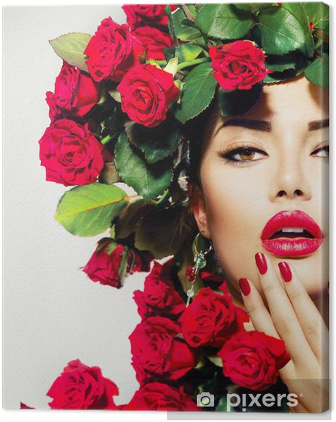 Beauty Fashion Model Girl Portrait with Red Roses Hairstyle Canvas Print - Themes