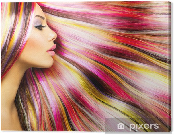 Beauty Fashion Model Girl with Colorful Dyed Hair Canvas Print - Fashion