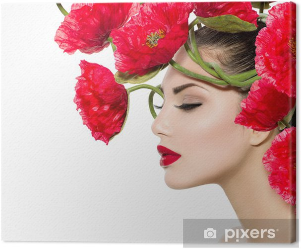 Beauty Fashion Model Woman with Red Poppy Flowers in her Hair Canvas Print - Fashion