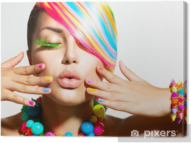 Beauty Girl Portrait with Colorful Makeup, Hair and Accessories Canvas Print - Themes