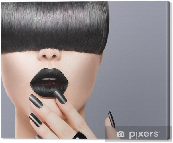 Beauty Girl Portrait with Trendy Hairstyle, Black Lips and Nails Canvas Print - iStaging