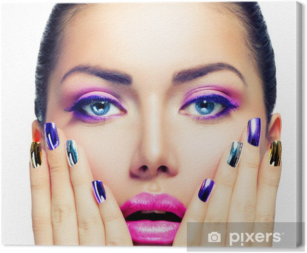 Beauty Makeup. Purple Make-up and Colorful Bright Nails Canvas Print - Women