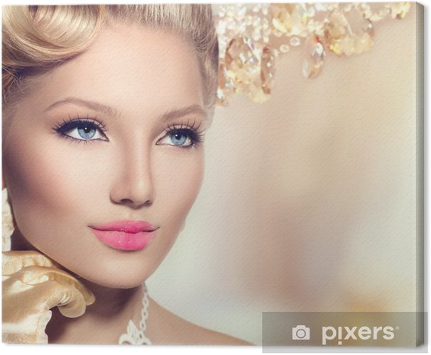 Beauty retro woman with perfect makeup and hairstyle Canvas Print - Hair salon