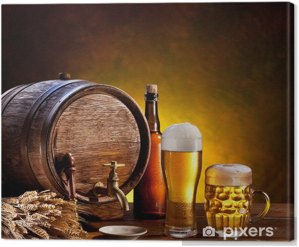 Beer barrel with beer glasses on a wooden table. Canvas Print - Restaurant
