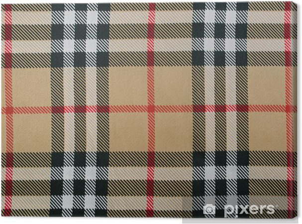 Beige Wool Plaid Fabric With Red Black And White Stripes Canvas