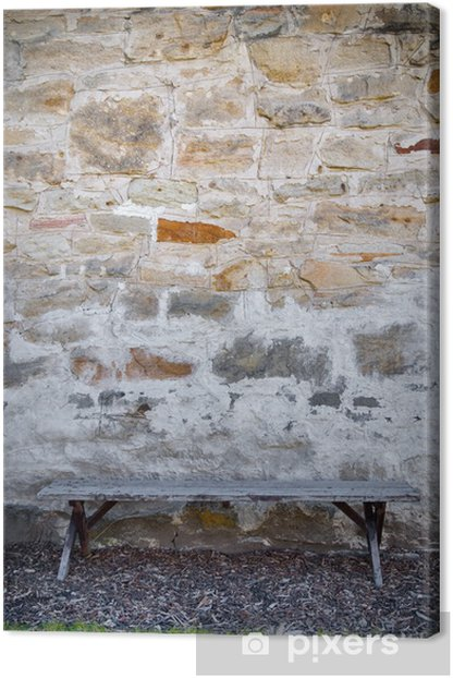 Bench and Stone Wall Canvas Print - Justice
