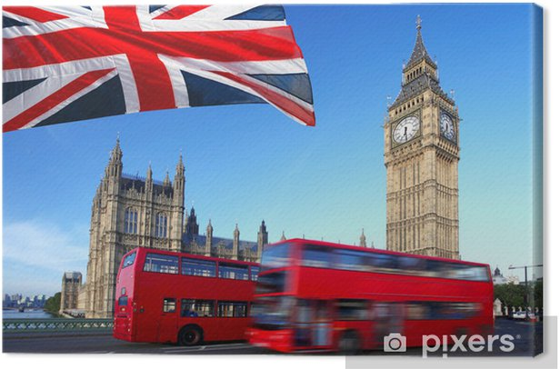 Big Ben with city bus and flag of England, London Canvas Print - Themes