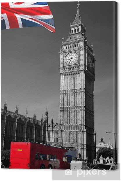 Big Ben with red city bus in London, UK Canvas Print -
