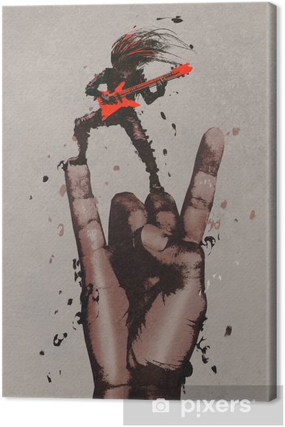 big hand in rock n roll sign with guitarist,illustration painting Canvas Print - Hobbies and Leisure