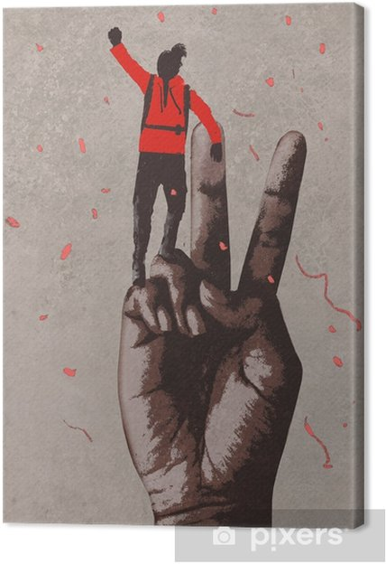 big hand in victory sign and man with arm raised,illustration painting Canvas Print - Lifestyle