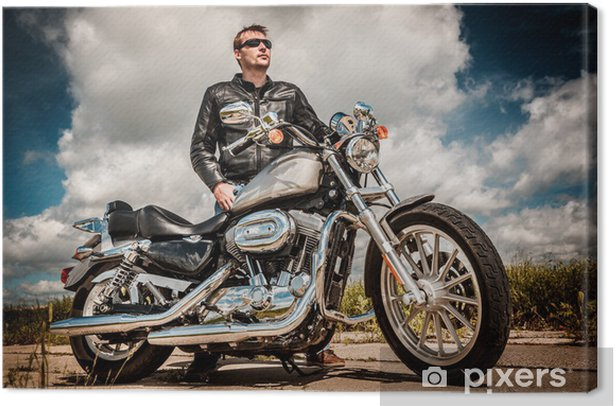 Biker on the road Canvas Print - On the Road