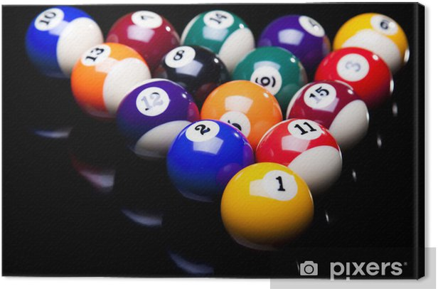 Billiard balls, cue on black table Canvas Print - Individual Sports
