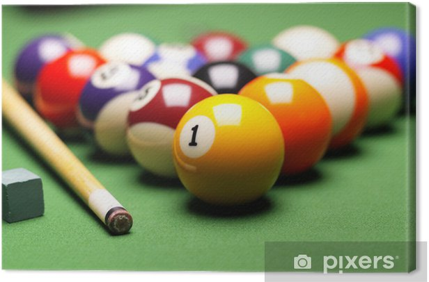 Billiard balls, cue on green table! Canvas Print - Themes