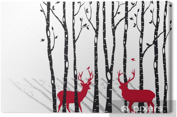 birch trees with christmas deers, vector Canvas Print -