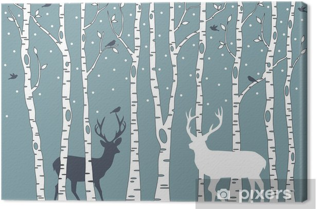 birch trees with deer, vector background Canvas Print - Styles