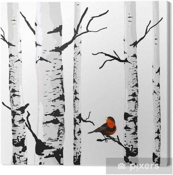 Bird of birches, vector drawing with editable elements. Canvas Print - Business