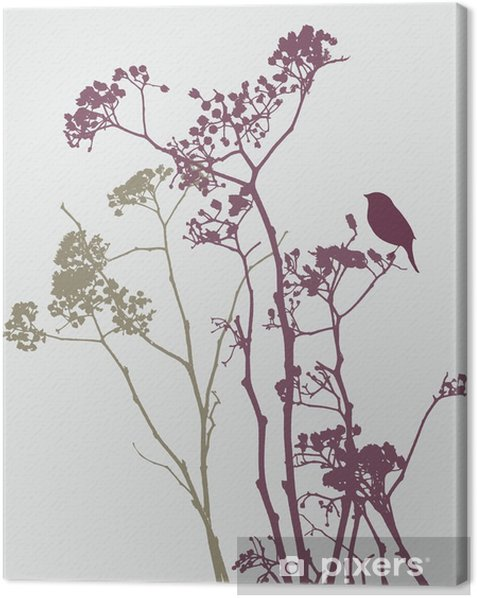 bird on meadow flowers Canvas Print - Plants and Flowers