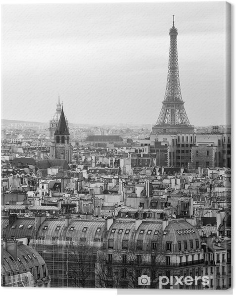 Black and White Aerial View of Paris with Eiffel Tower Canvas Print - Styles