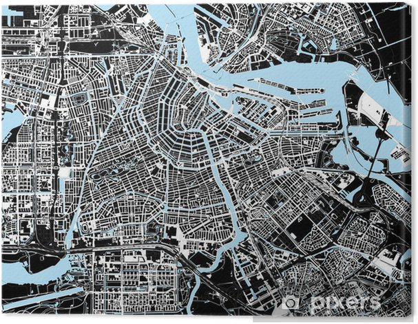 black and white amsterdam city map Canvas Print - European Cities