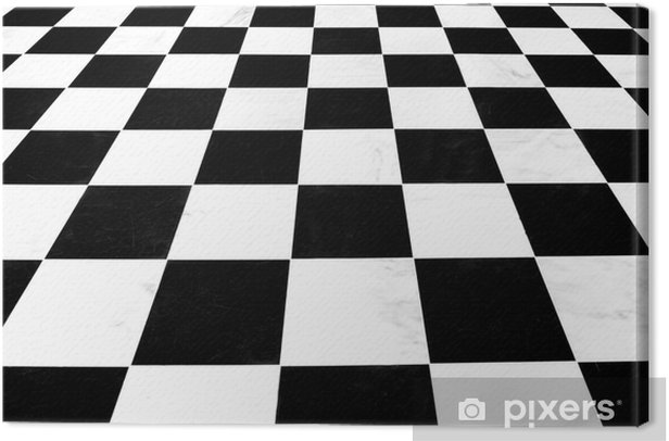 Black And White Checkered Linoleum Floor Receding Canvas Print Pixers We Live To Change