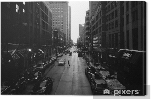 Black and White Chicago Streets Canvas Print - Buildings and Architecture