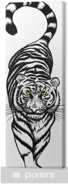 Black And White Crouching Tiger With Yellow Eyes Canvas Print Pixers We Live To Change