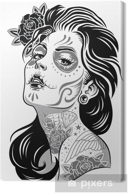 Black and White Day of Dead Girl Vector Illustration Canvas Print -