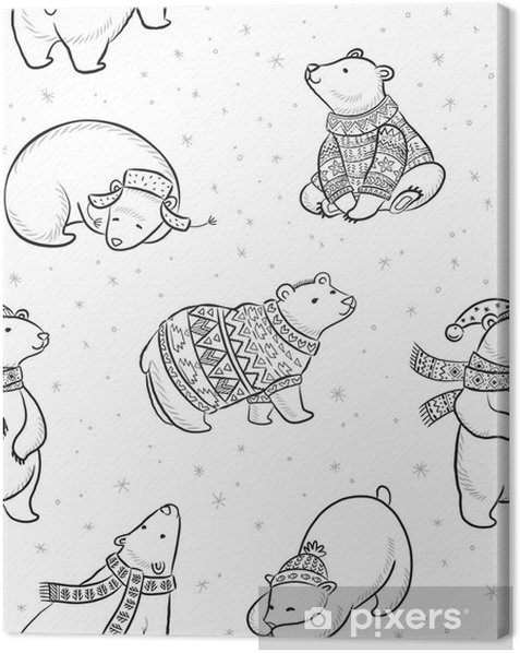 Black And White Hand Drawn Polar Bears Seamless Pattern Canvas Print