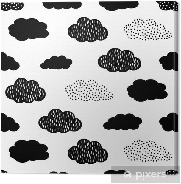 Black and white seamless pattern with clouds. Cute baby shower vector background. Child drawing style illustration. Canvas Print - Graphic Resources