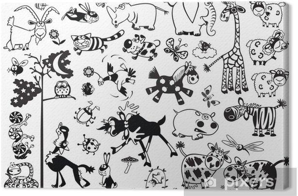 black and white set with cartoon childish animals Canvas Print - Mammals