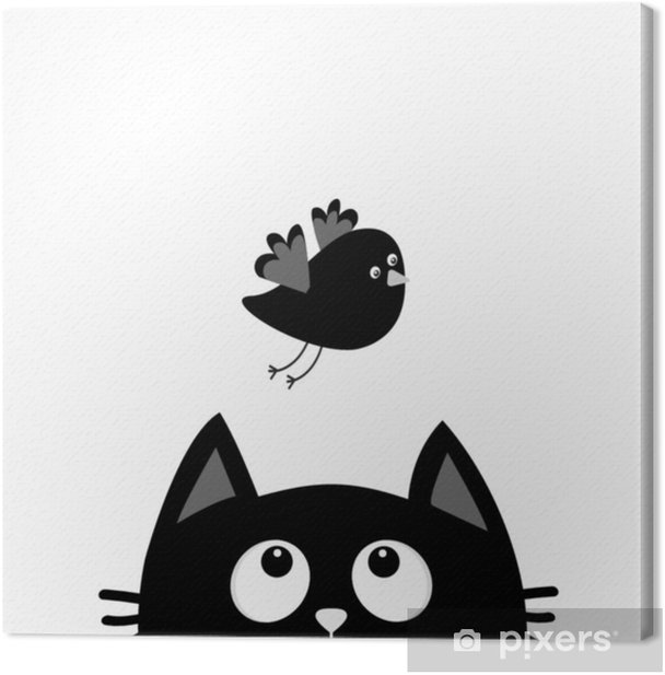 Black Cat Face Head Silhouette Looking Up To Flying Bird Cute