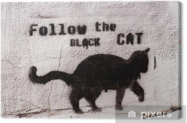 black cat graffiti Canvas Print - iStaging