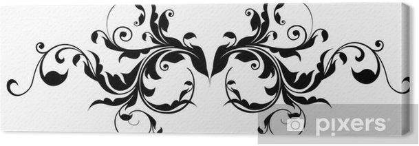 black flower pattern silhouette Canvas Print - Textures