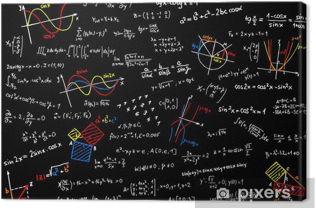 Blackboard with mathematics sketches - vector illustration Canvas Print - Education