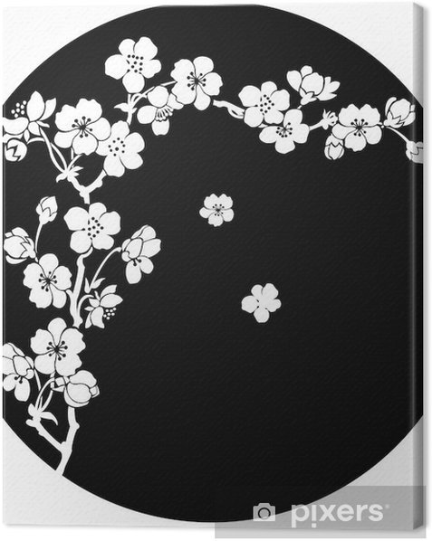 Blooming cherry in ink Canvas Print - Styles