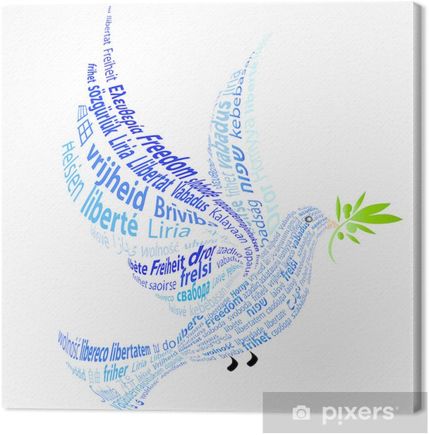 "Blue Dove with the word ""peace"" in all languages Canvas Print - Liberty"