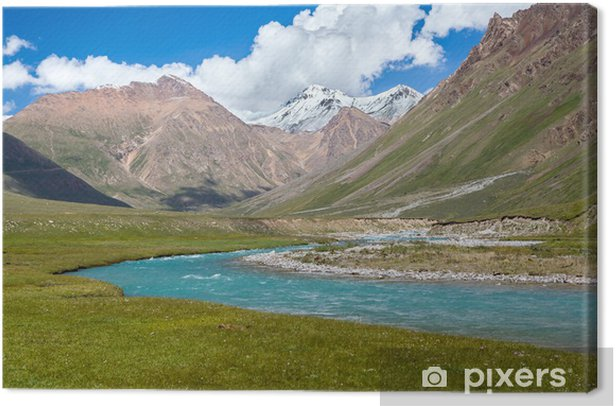 Blue river and snow peaks of Tien Shan mountains Canvas Print - Asia