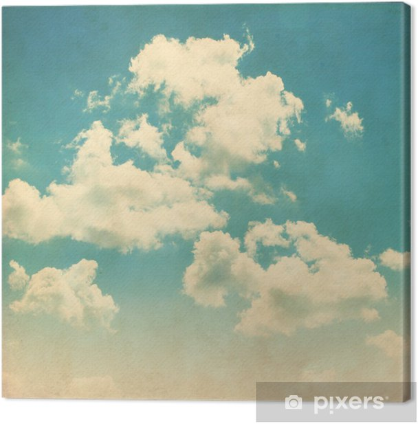 Blue sky with clouds in grunge style. Canvas Print - Themes