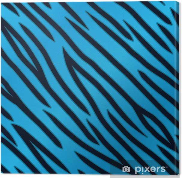 Blue Tiger Print Canvas Print