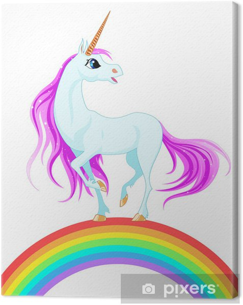 blue unicorn Canvas Print - Wall decals