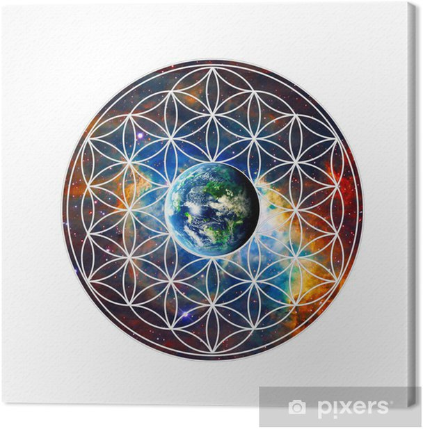 Blume des Lebens - Erde - Heilige Geometrie Canvas Print - Wall decals