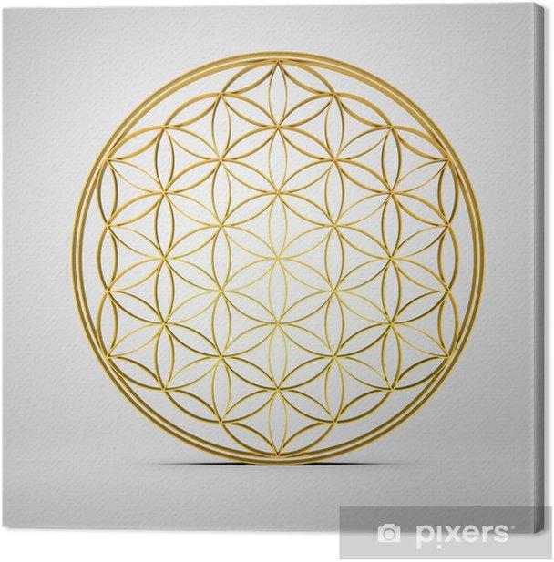 Blume des Lebens - Gold 3D Canvas Print - Religion