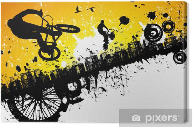 BMX riders in a city background Canvas Print - Cycling