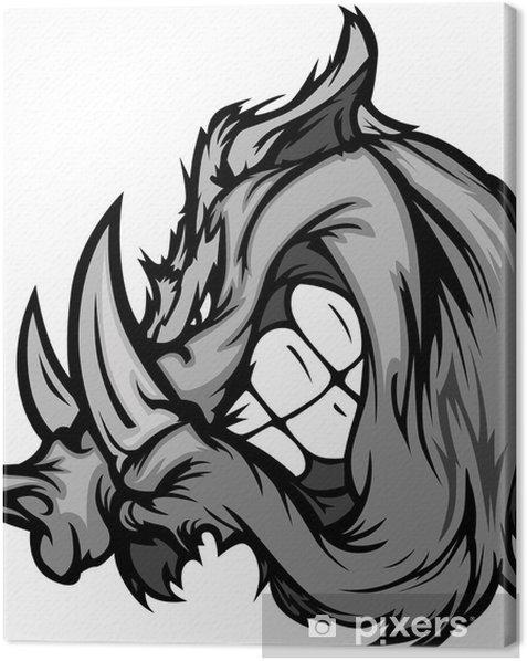 Boar Razorback Cartoon Face Illustration Canvas Print - Mammals