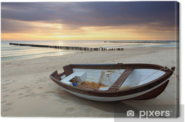 Boat on beautiful beach in sunrise Canvas Print - Themes