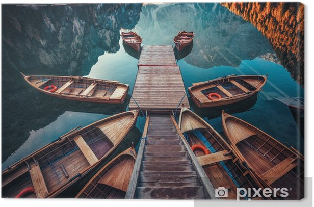 Boats on a lake in Italy Canvas Print - Landscapes