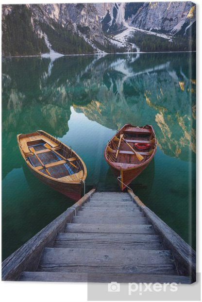 Boats on the Braies Lake ( Pragser Wildsee ) in Dolomites mounta Canvas Print - Landscapes