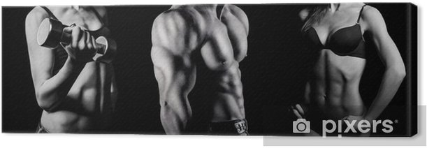 Bodybuilding. Man and woman Canvas Print - Destinations