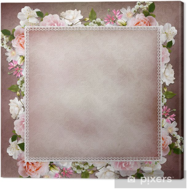 Border of roses, lace on vintage background Canvas Print - Happiness